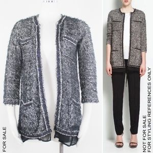 Zara 3/4 Sleeves Chain Embellished Layer Cardigan